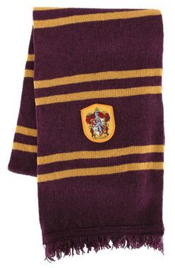 Officially licensed scarf is made of lambs' wool and features the Gryffindor Coat of Arms patch. 75 inches long. For kids or adults.