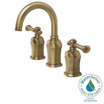 Pegasus Verdanza Series 8 in. Widespread 2-Handle High-Arc Bathroom Faucet in Antique Brass-67389W-8024H - The Home Depot