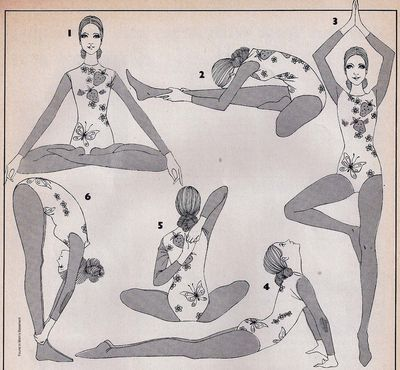 yoga illustrations for a 1974 issue of Teen Magazine