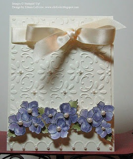 """Eileen's """"Stampin' Fever"""" BlogEmbossing Folder, Cards Ideas, Challenges Cards, Greeting Cards, Eileen Stampin, Cut Outs, Flower Cards, Embossed Cards, Purple Flower"""