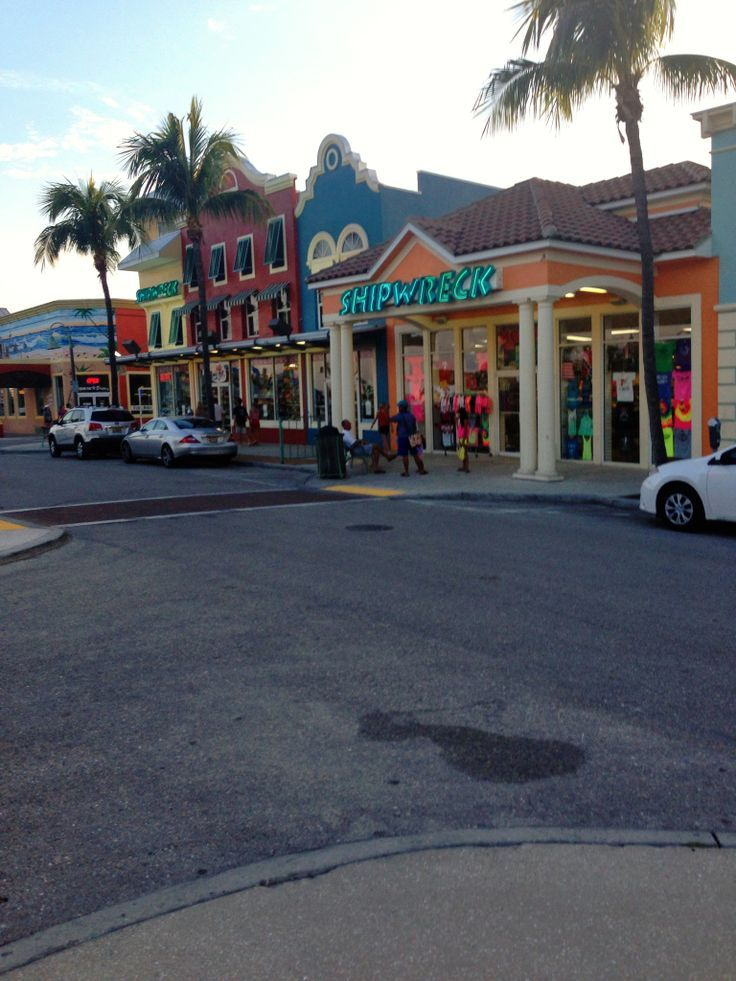 Times Square shops and restaurants on Fort Myers Beach, Florida