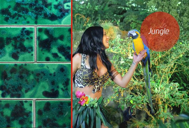 Jungle green and navy blue hand-glazed tiles. Made in New Zealand by Middle Earth tiles.
