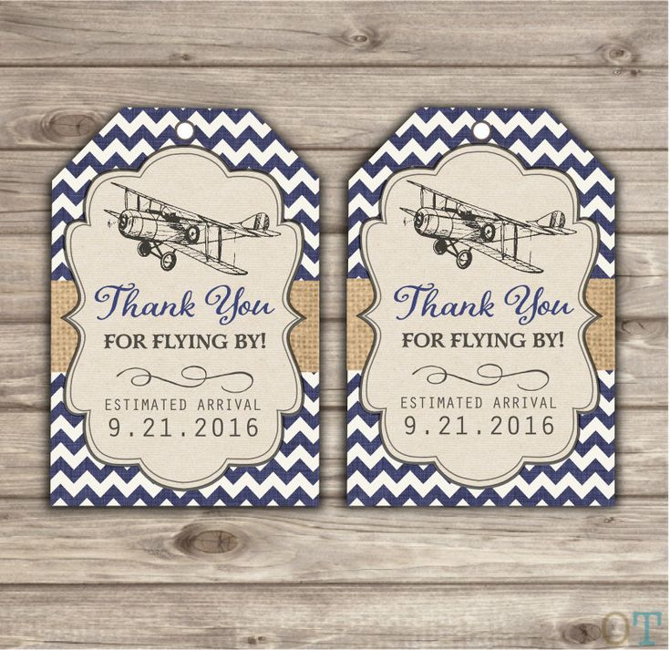 Airplane Thank You Tags Baby Shower Vintage Rustic Theme Party Baby Sip and See Navy Blue Modern Cute Custom Burlap Chevron pdf  NV111 by cardmint on Etsy https://www.etsy.com/listing/253372250/airplane-thank-you-tags-baby-shower