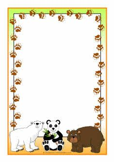 Bears A4 page borders (SB4568) - SparkleBox