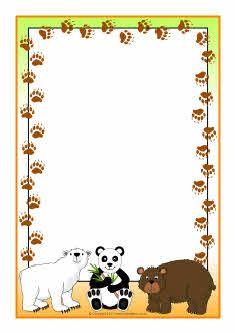 Bears A4 page borders (SB4568) - SparkleBox