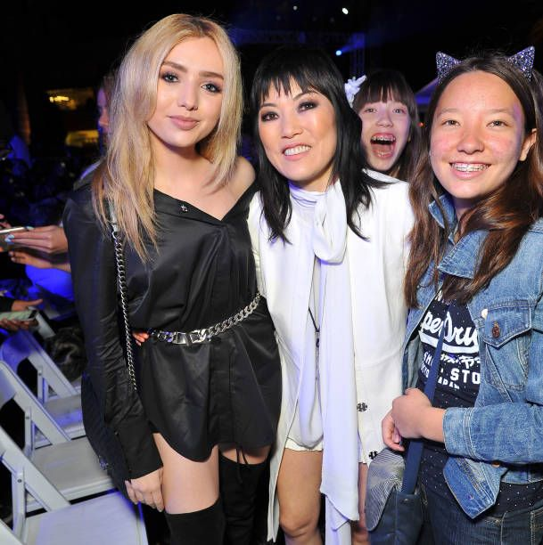 Actress Peyton List designer Jene Park and guests attend the debut of Thomas Wylde's 'Warrior II' collection at Pacific Design Center on March 12...