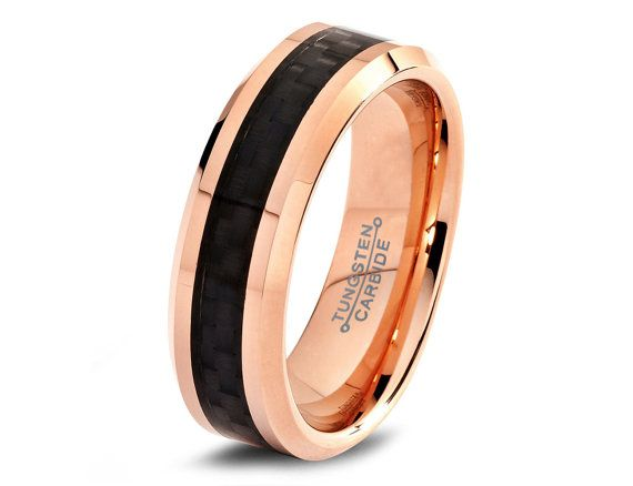 Rose Gold Wedding Band 18K Mens Tungsten Carbide by GiftFlavors
