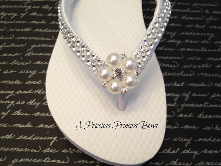 White Satin Wedding Pearl & Bling Flip Flops Womens  Bridal Bridesmaid Prom Beach Rhinestone Crystal Embellishment. $29.95, via Etsy.