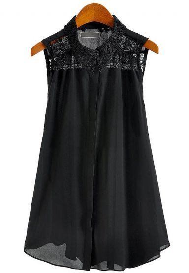 Black Sleeveless Embroidery Lace Chiffon Blouse pictures