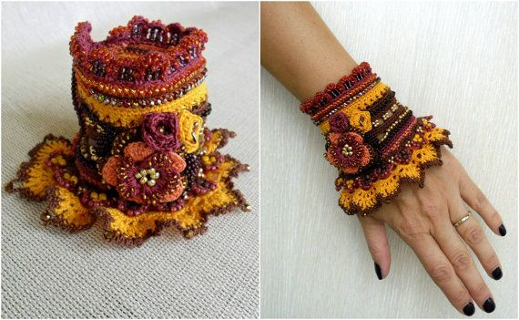 Check the way to make a special photo charms, and add it into your Pandora bracelets. Bracelet Cuff Crochet Bracelet Cuff Autumn Cuff by SvetlanaCrochet
