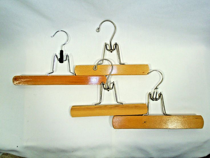 Vintage Wood Pant Clamp Skirt Hangers Lot of 4 #Unbranded