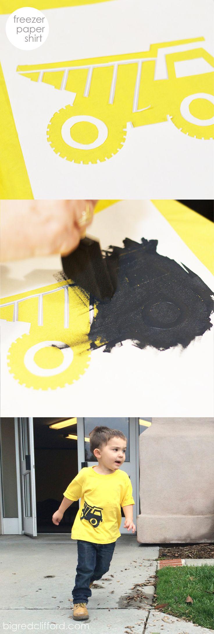 DIY freezer paper shirt fabric paint dump truck