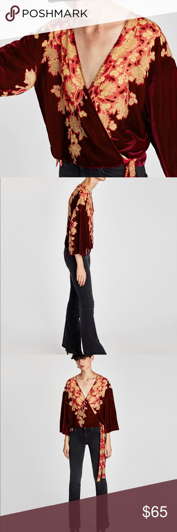 Zara printed Kimono with velvet trims in wine Zara printed Kimono with velvet grins in deep burgundy wine color. Floral motif printed chiffon ties on the side. Wrap top Kimono that will work with denim or dress it up with a skirt for a night out.  Zara  Wrap Kimono  Velvet  Color Red/ burgundy/ wine Zara Tops