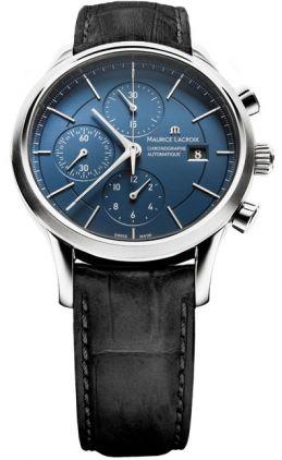 Maurice Lacroix Les Classiques Automatic Chronograph Blue Dial Black Leather Strap Men's Watch LC6058-SS001-430