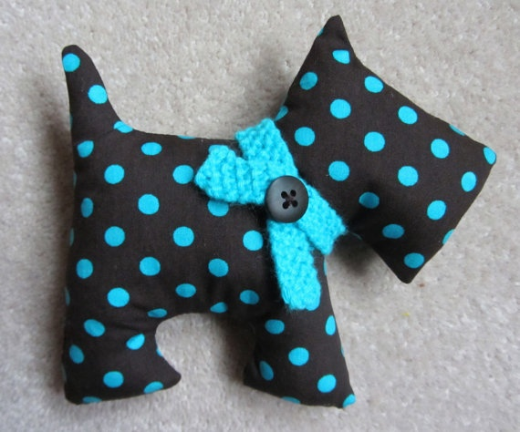Scottie Dog Softie Fabric Toy by DotsandDaisy on Etsy, £5.99