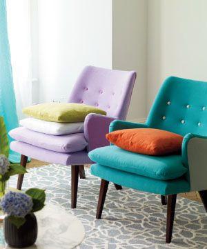 Cute chairs, nice tufting, fun colours