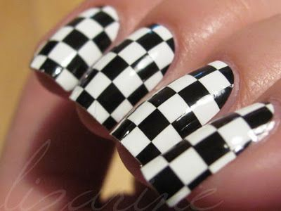 Checkers Nail Art- race day here I come :):)