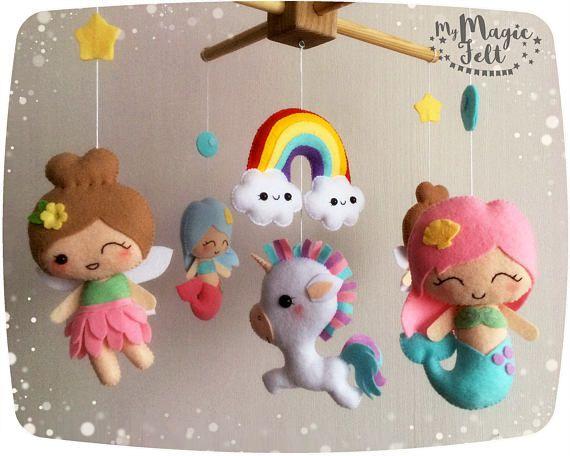 Giostra per culla in feltro e pannolenci/  Mobile fate arcobaleno bambino mobile sirene presepe mobile