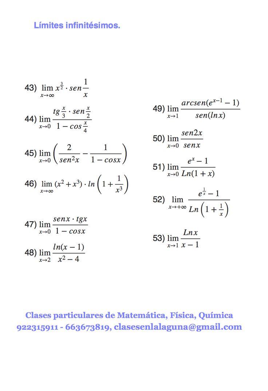 Ejercicios de infinitésimos, límites