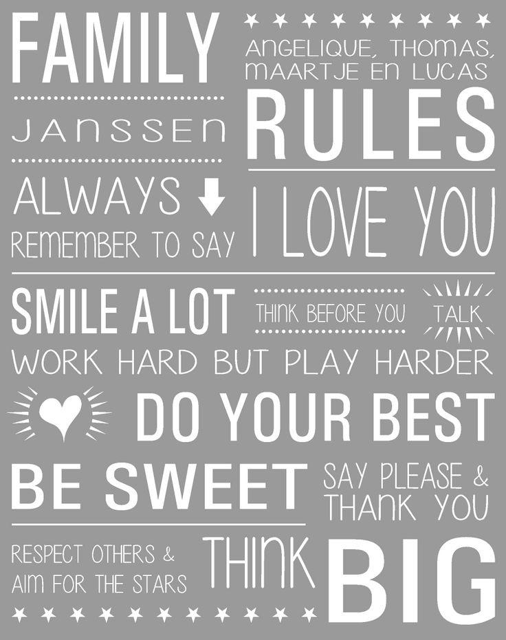 Hoe leuk kunnen regels zijn!! Muursticker Family Rules ... gepersonaliseerd met je eigen familie namen.