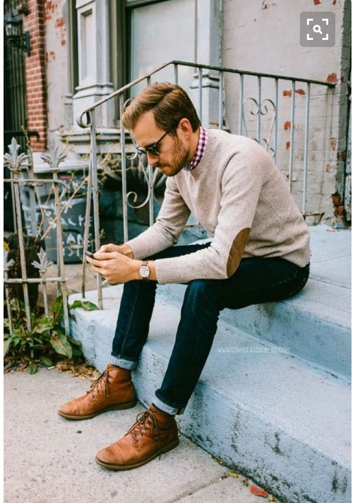 Stitch Fix Fall Men - mens fall outfit, semi hipster.  Leather elbow patch sweater with skinny cuffed jeans.