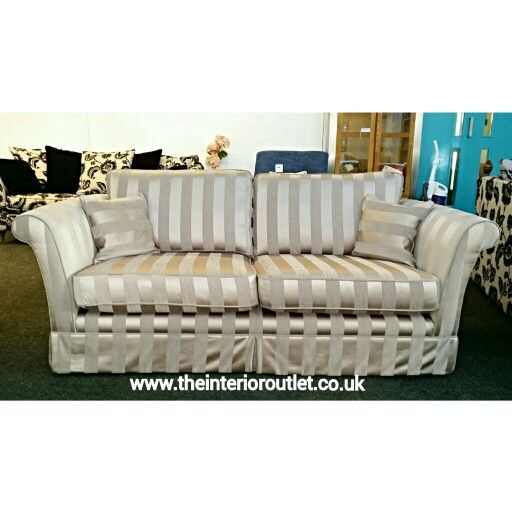 Only Ex Display Cannes 3 Seater Sofa In Luxurious Mink Regency Striped Fabric