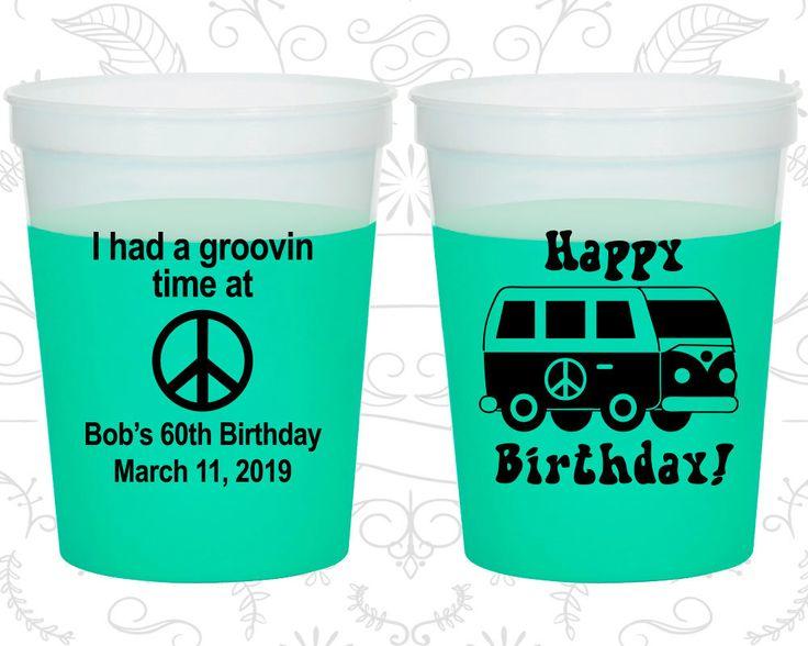 60th Birthday Mood Cups, Groovy Birthday, Retro Birthday, Hippie Birthday, Birthday Color Changing Cups (20296)