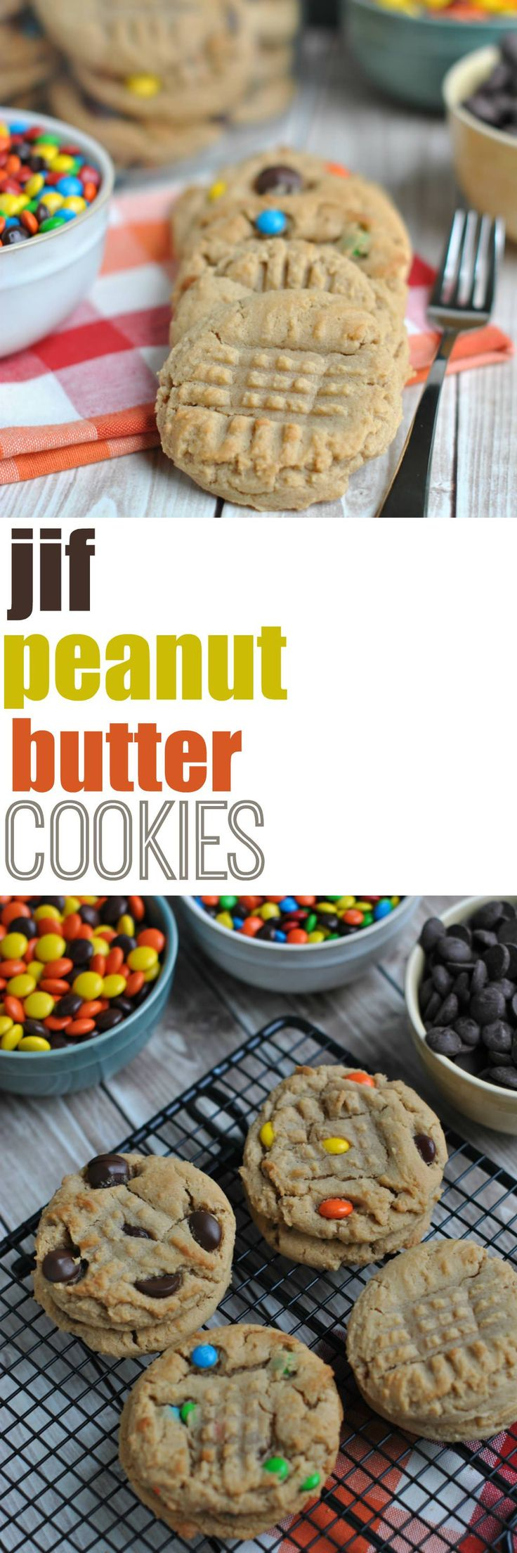 Chewy delicious Jif Peanut Butter Cookies. One of our favorite cookie recipes with lots of mix in ideas!
