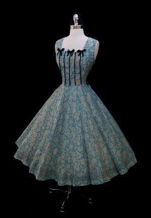 Vintage 1950s Blue Silk Metallic Roses Full Skirt Dress by sybil