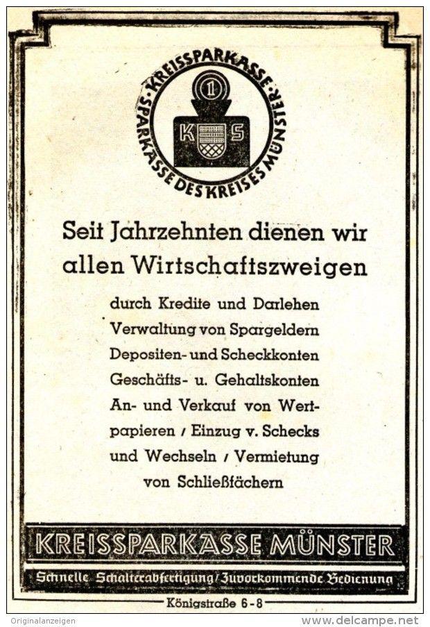 Original-Werbung/ Anzeige 1939 - KREISSPARKASSE MÜNSTER - ca. 100 x 150 mm