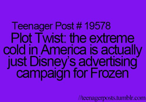 Plot Twist! The extreme cold in America is actually just Disney's advertising campaign for Frozen.