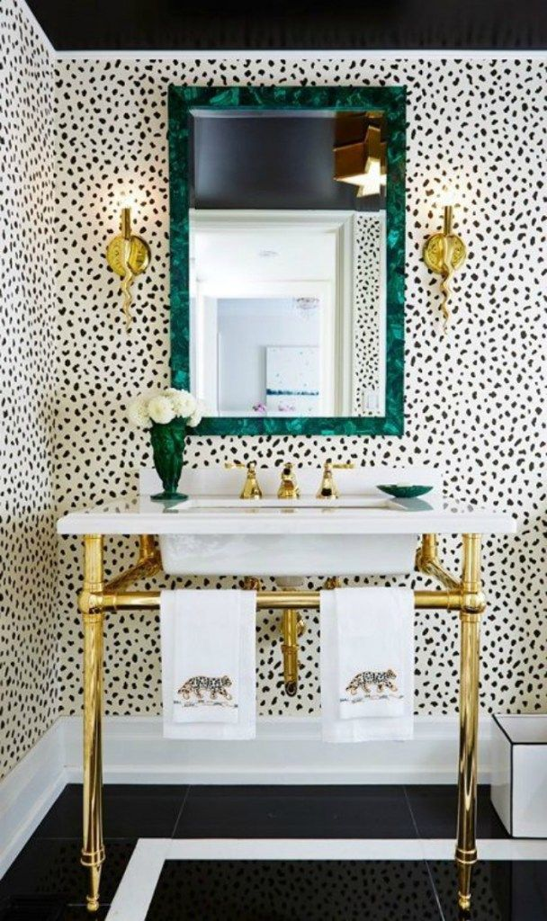 15 Incredible Small Bathroom Decorating Ideas   Bold Black And White  Spotted Wallpaper Styled With A Minimalist Gold Sink And Malachite Mirror