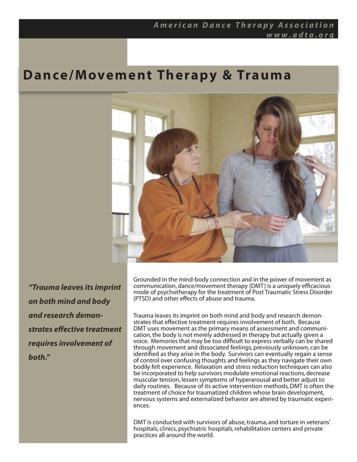 Dance/Movement Therapy & Trauma www.adta.org #DanceTherapy #DanceMovementTherapy #Trauma #TraumaTreatment | Dance/Movement Therapy | Pinterest | Dance movement…