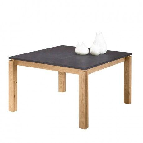 Table de s jour contemporaine en orme et b ton for Table carree contemporaine