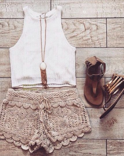Cute beige / cream colored scalloped and lace shorts, white crop tank top, gladiator looking sandal flats, and a long necklace