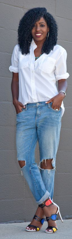 White Boyfriend Shirt Outfit Idea by Style Pantry