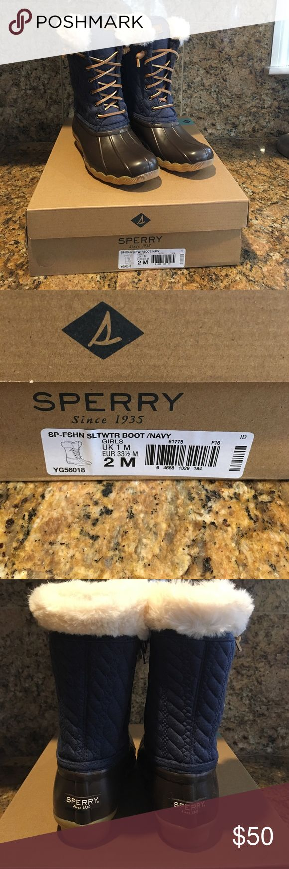 New girls Sperry boots size 2 Brand new, in original box, girls size 2 saltwater boots Navy/brown. Bought as a Christmas gift, were too small and I was unable to return after 45 days. Sperry Shoes Boots