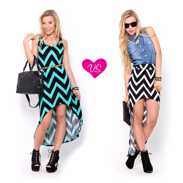 Which #chevron #outfit would you wear? Like the right with the left shoes