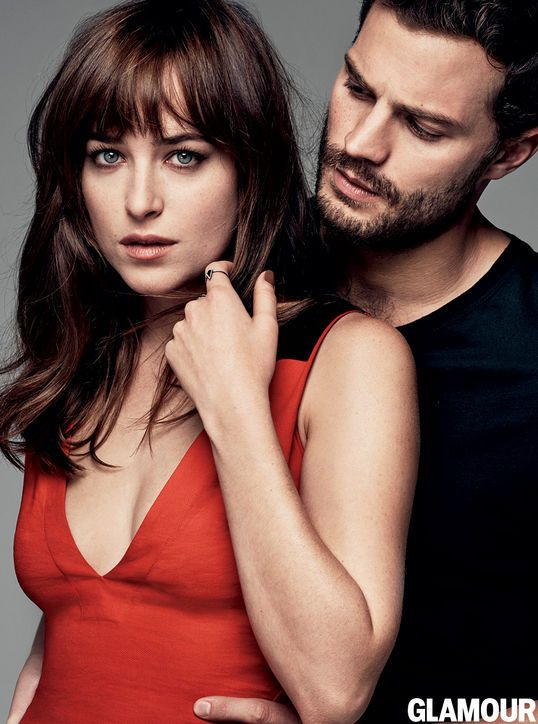 Fifty Shades of Grey's Dakota Johnson and Jamie Dornan in the March 2015 issue of Glamour. Photo: Steven Pan