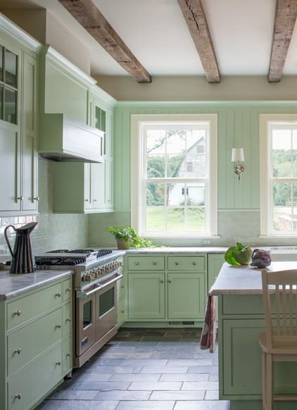 Paint Grade Farmhouse Kitchen In Pale Green Lacquer With Island And Inset Doors