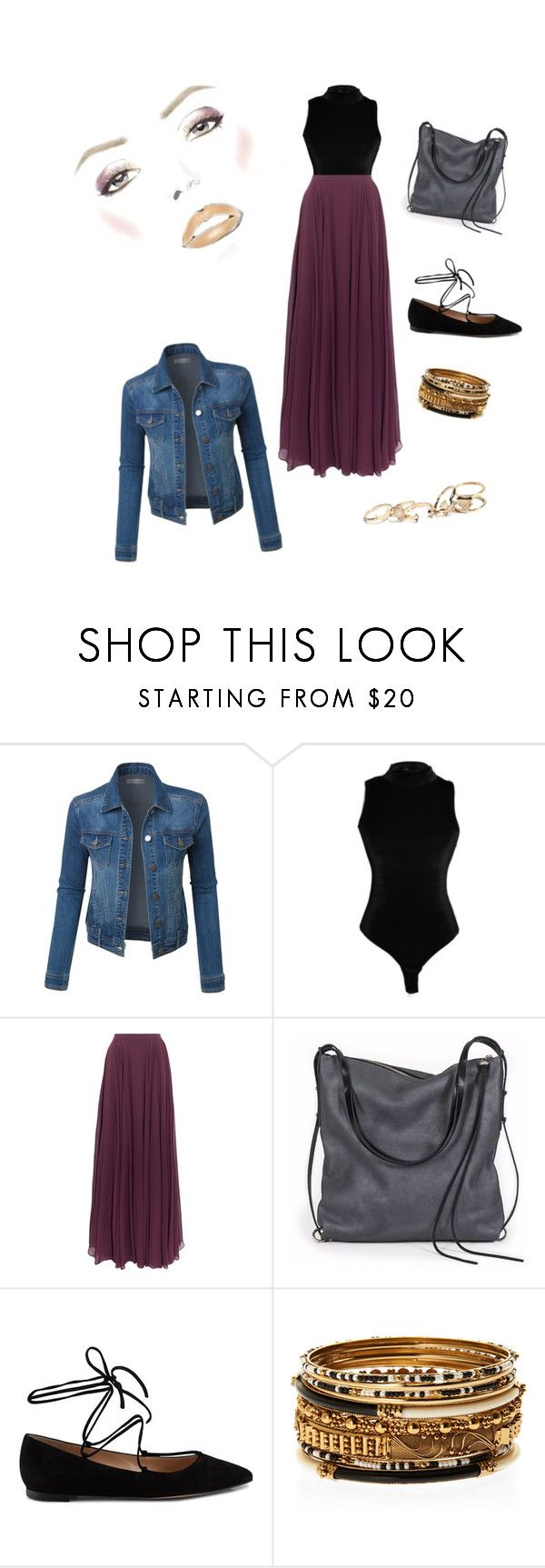 """falda larga"" by yopacaochoa on Polyvore featuring LE3NO, Halston Heritage, Ina Kent, Gianvito Rossi, Amrita Singh and GUESS"