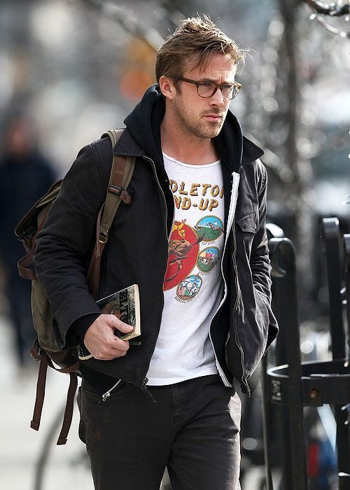 Ryan Gosling streetstyle with a gray field jacket black hoodie t shirt  brown leather backpack and gray denim  celebrity  celebrities  ryangosling  ... adc2578c9c986