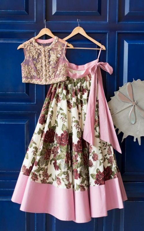 Anushree Reddy Pink lehenga choli with burgundy floral print on skirt