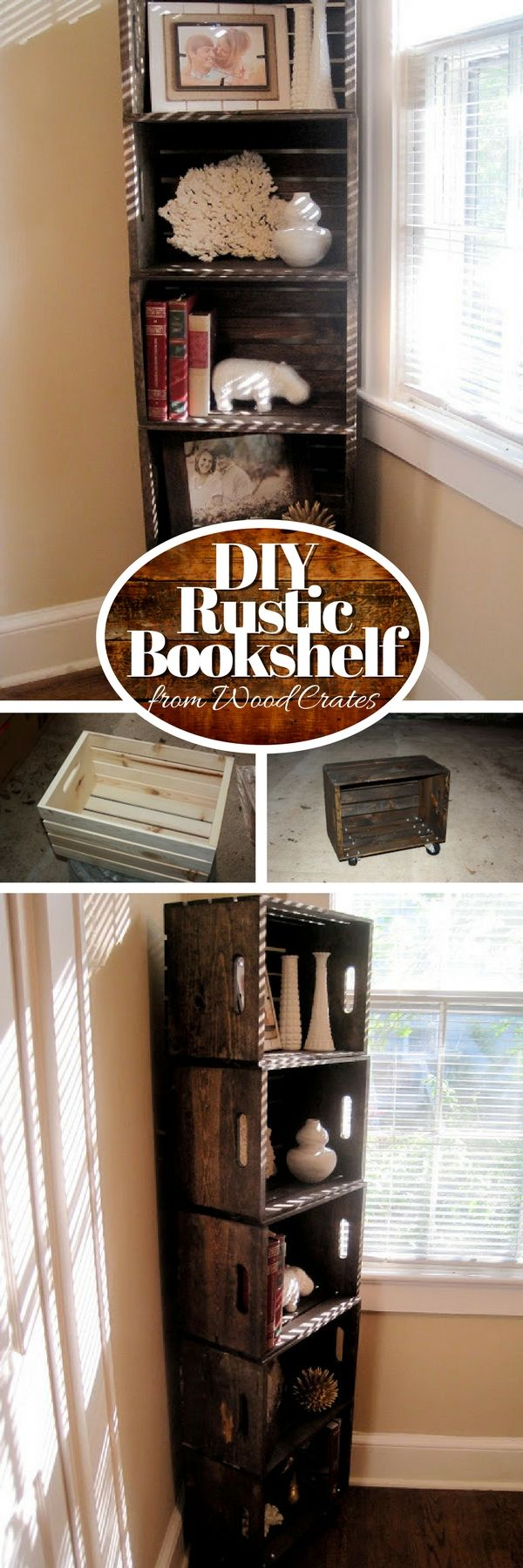 Check out how to build an easy DIY bookshelf from wood crates @istandarddesign