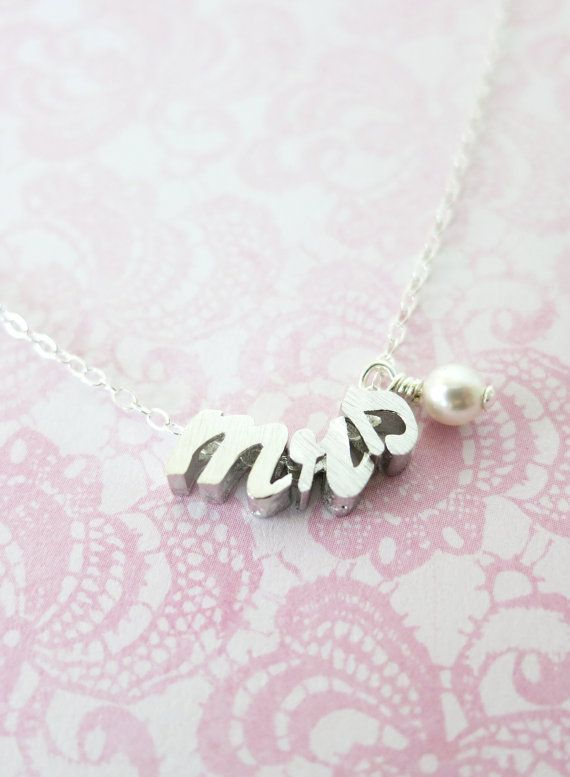 mrs - Silver Lowercase Cursive Letter Necklace with a pearl - Sterling Silver Chain, monogram, friendship, bridesmaid letter necklace, www.glitzandlove.com