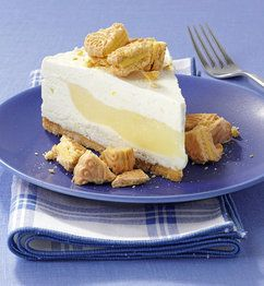 Lemon Surprise Cheesecake - the crust is made with Lemonades Girl Scout cookies, then there is a lemon cheesecake layer and then a lemony filling and another cheesecake layer.