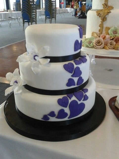 Cadbury purple heart wedding cake