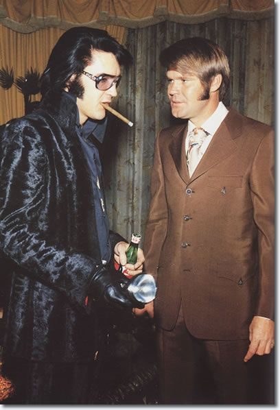 "Elvis Presley and Glen Campbell at George Klein's wedding, December 5, 1970.  Glen Campbell, yet another Laurel Canyon denizen, was named by Cisco Wheeler and Fritz Springmeier as a mind control programmer.  Elvis Presley was named by both Wheeler and Brice Taylor as a mind control slave.  Campbell was a member of the ""Wrecking Crew""- sicko Phil Specter's studio aces."