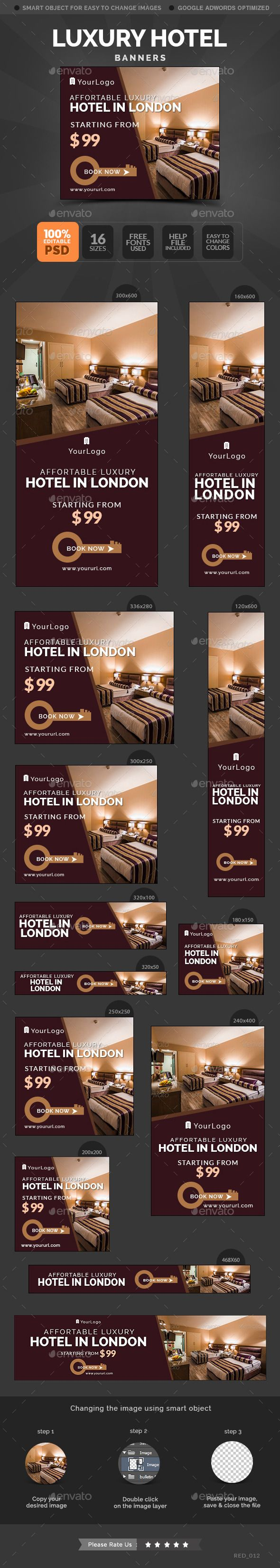 Luxury Hotel Banners - Banners & Ads Web Template PSD. Download here: http://graphicriver.net/item/luxury-hotel-banners/10654582?s_rank=1796&ref=yinkira