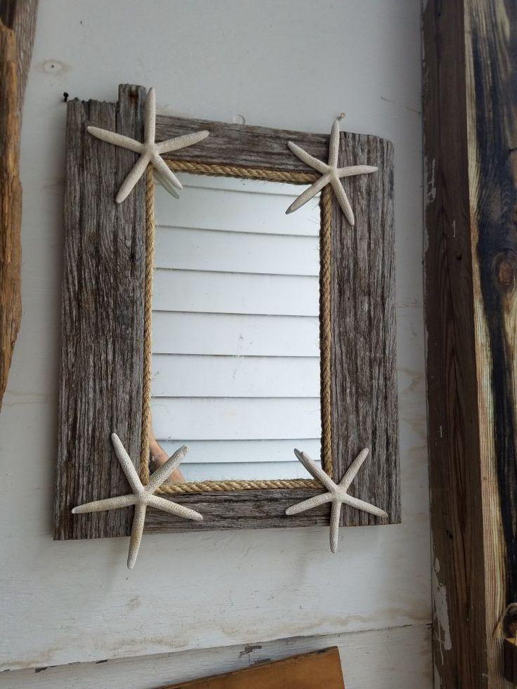 Driftwood and starfish mirror